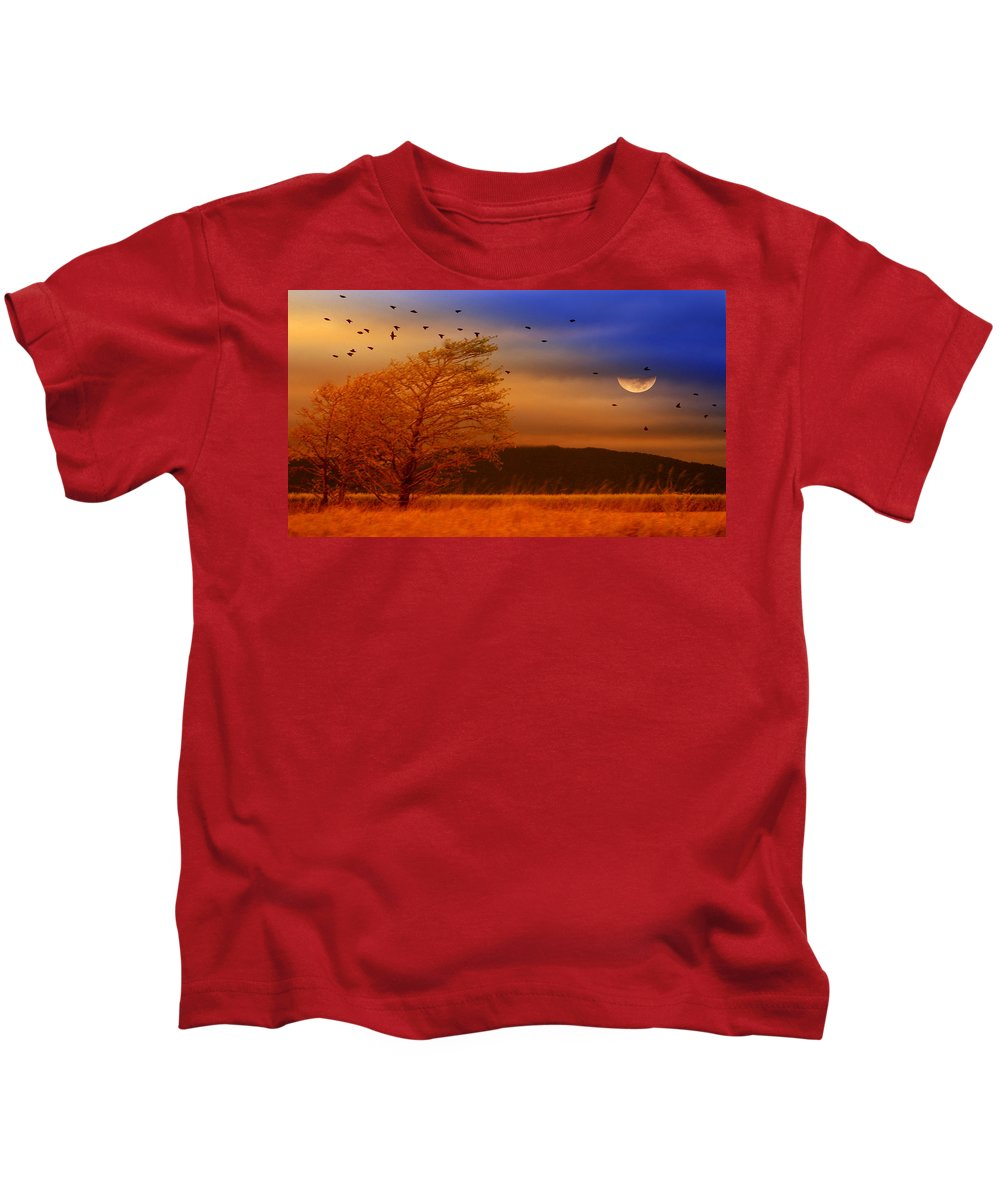 Landscape Kids T-Shirt featuring the photograph Against The Wind by Holly Kempe