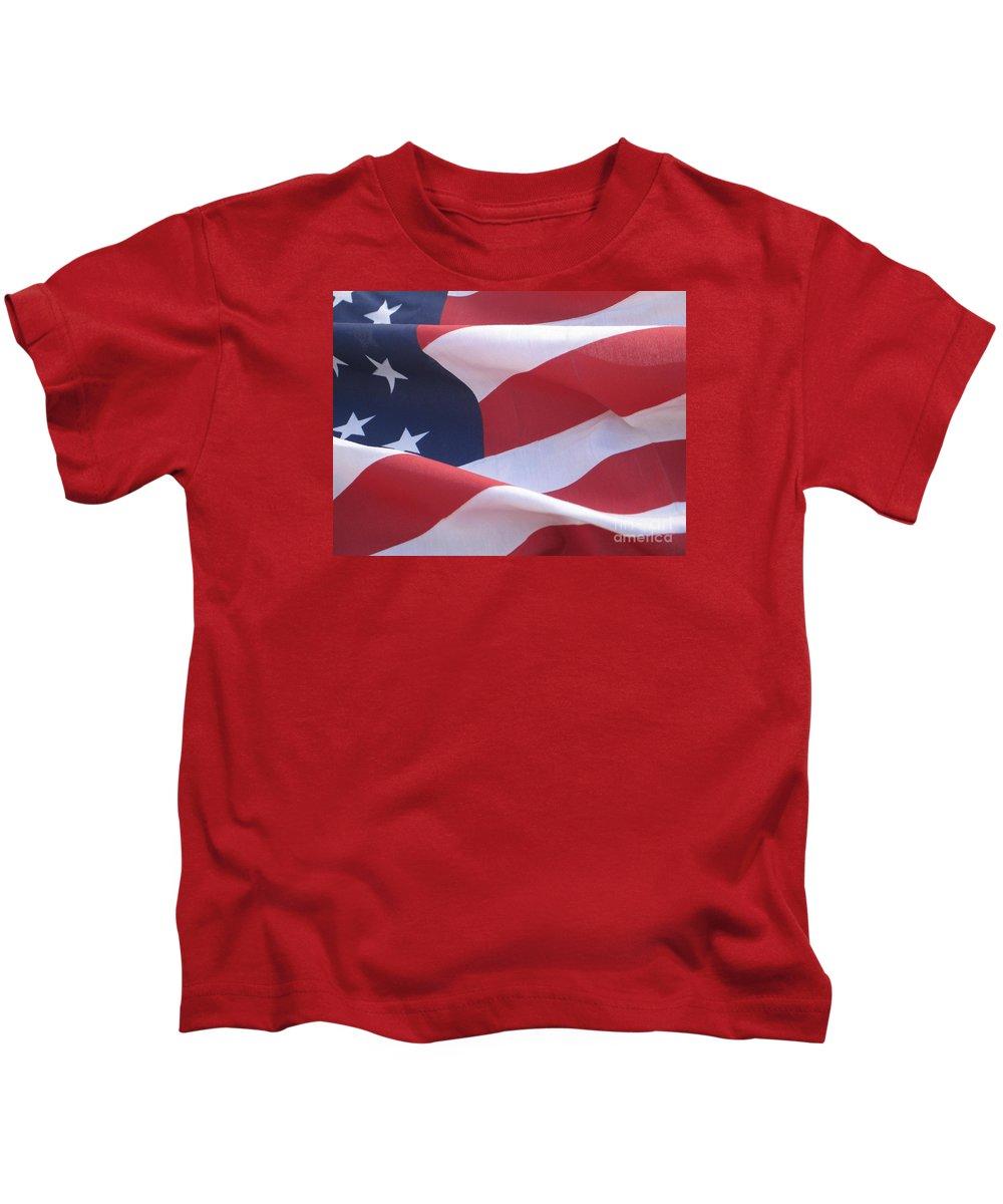 Photograph Kids T-Shirt featuring the photograph American Flag  by Chrisann Ellis