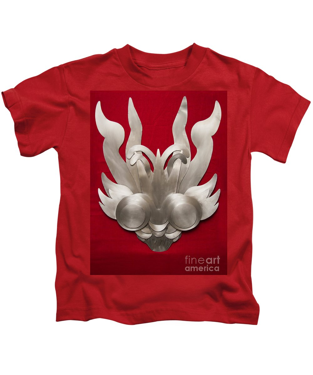 Folklore Kids T-Shirt featuring the photograph Andean Devil Mask by Dario Pinto