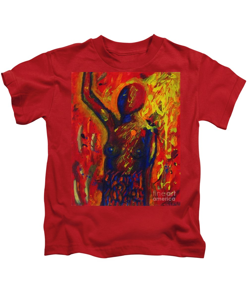 Angst Kids T-Shirt featuring the painting Angst by Janell R Colburn