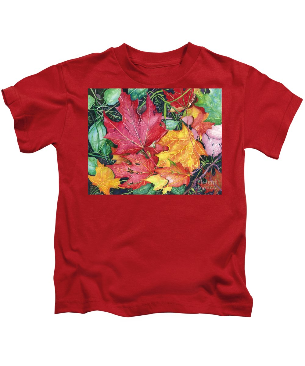 Water Color Paintings Kids T-Shirt featuring the painting Autumn's Carpet by Barbara Jewell