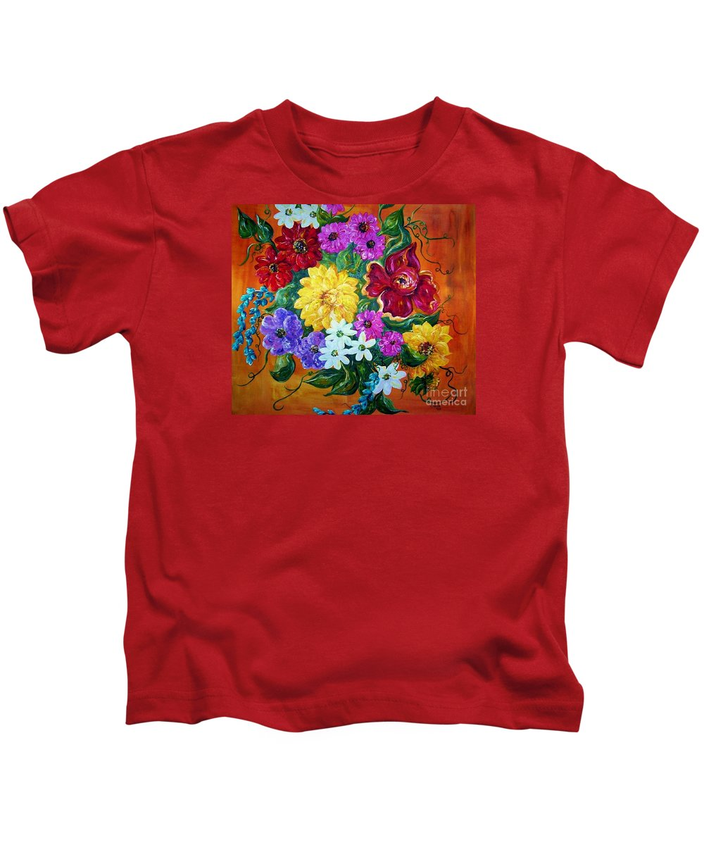 Flower Kids T-Shirt featuring the painting Beauties In Bloom by Eloise Schneider Mote