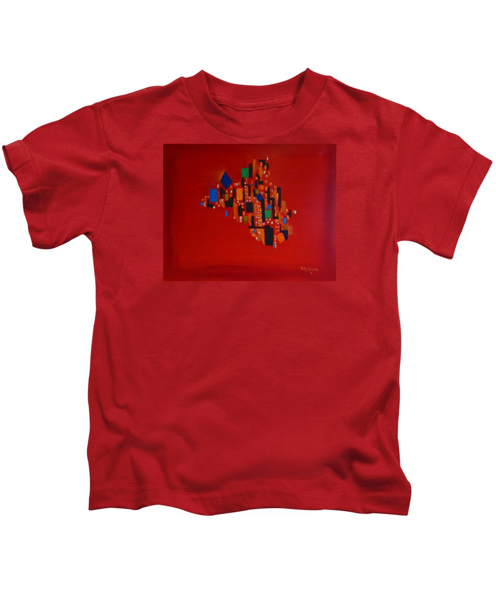 Abstract Art Kids T-Shirt featuring the painting Bejeweled City by Betty Compton