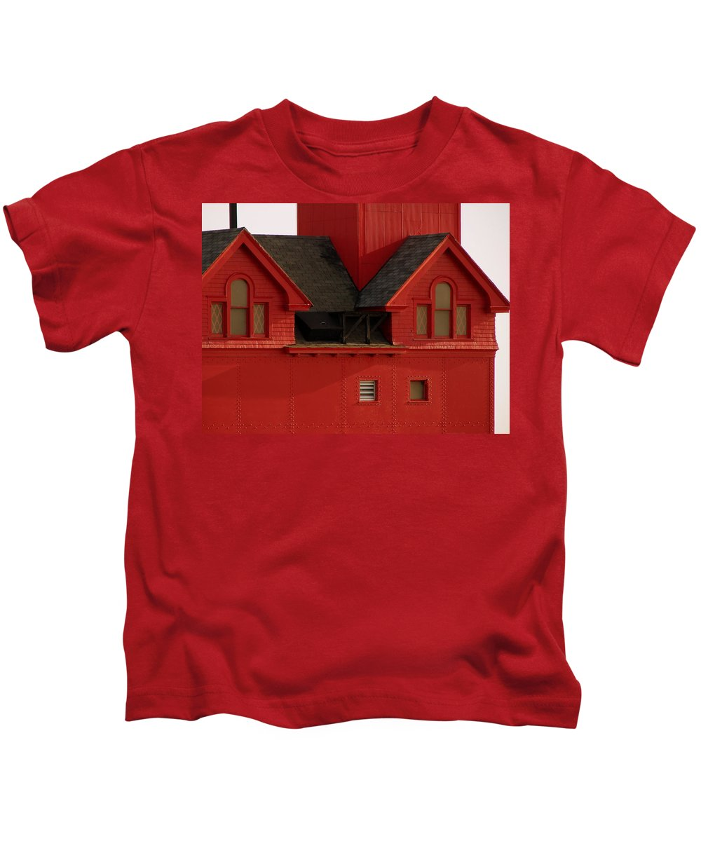 Windows Kids T-Shirt featuring the photograph Big Red Holland Harbor Light Michigan by Michelle Calkins