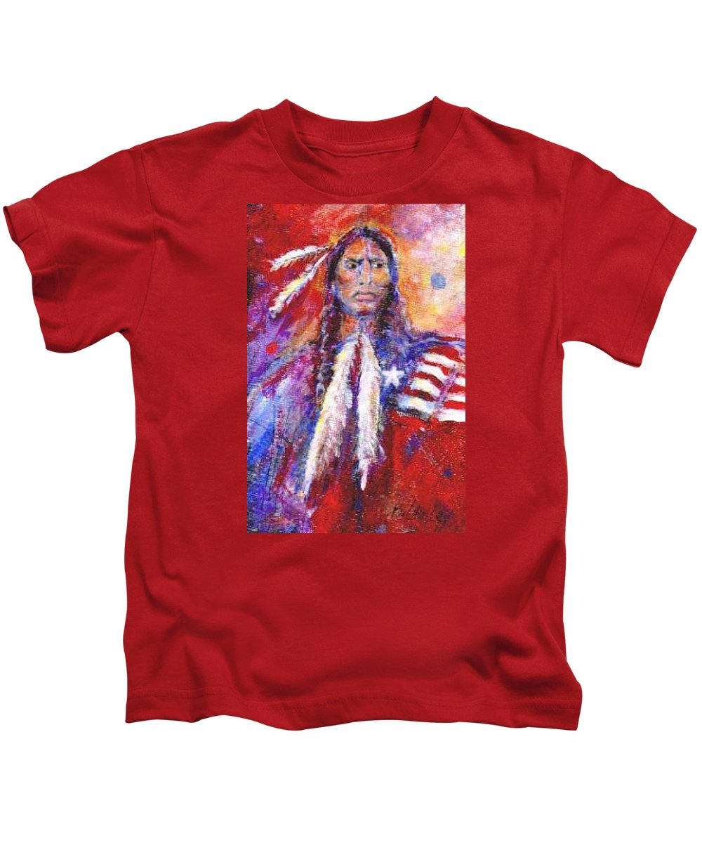 Native American Kids T-Shirt featuring the painting Blackfeet by Barbara Lemley