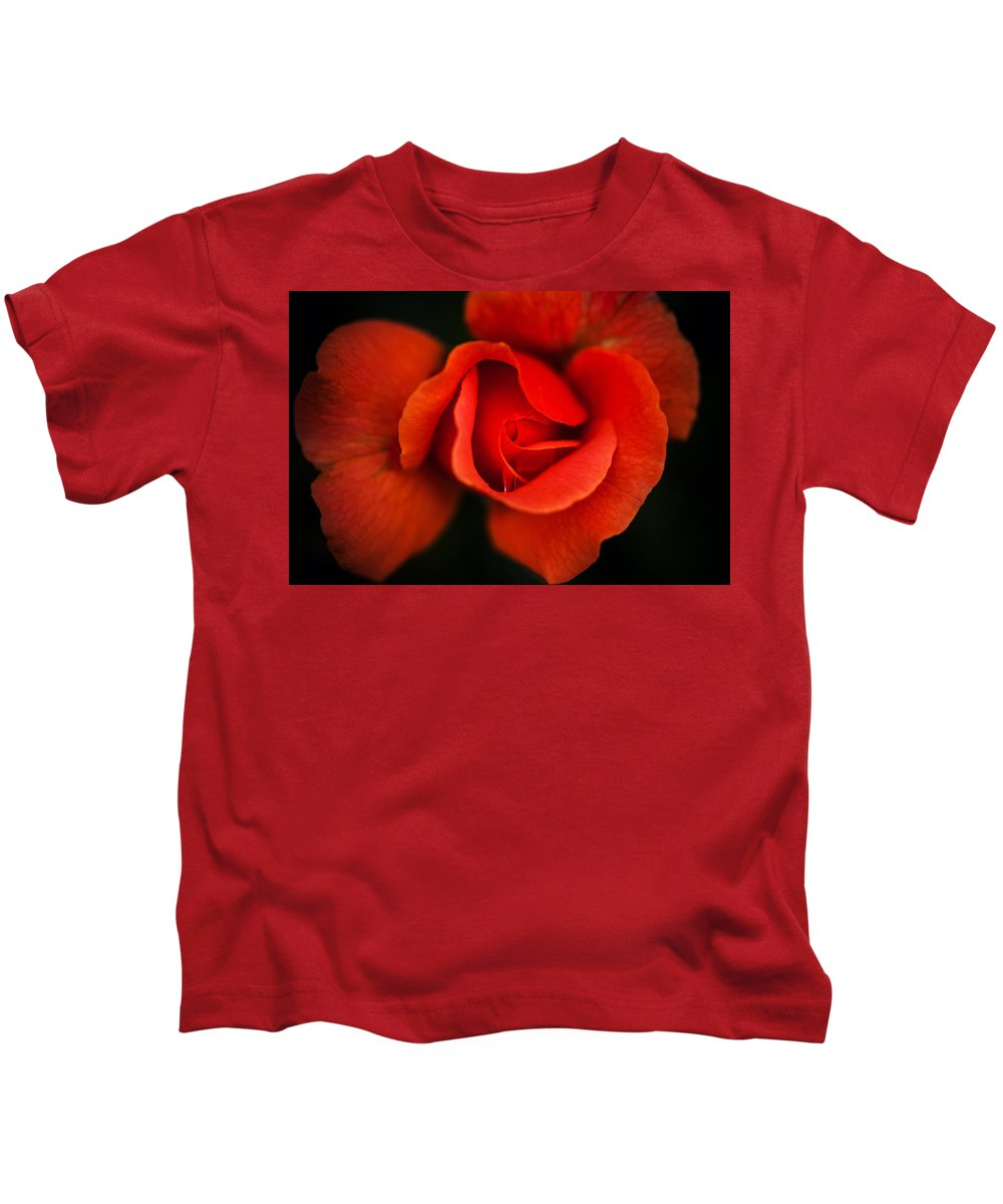 Bumble Bee Kids T-Shirt featuring the photograph Blooming Red Rose by Sennie Pierson