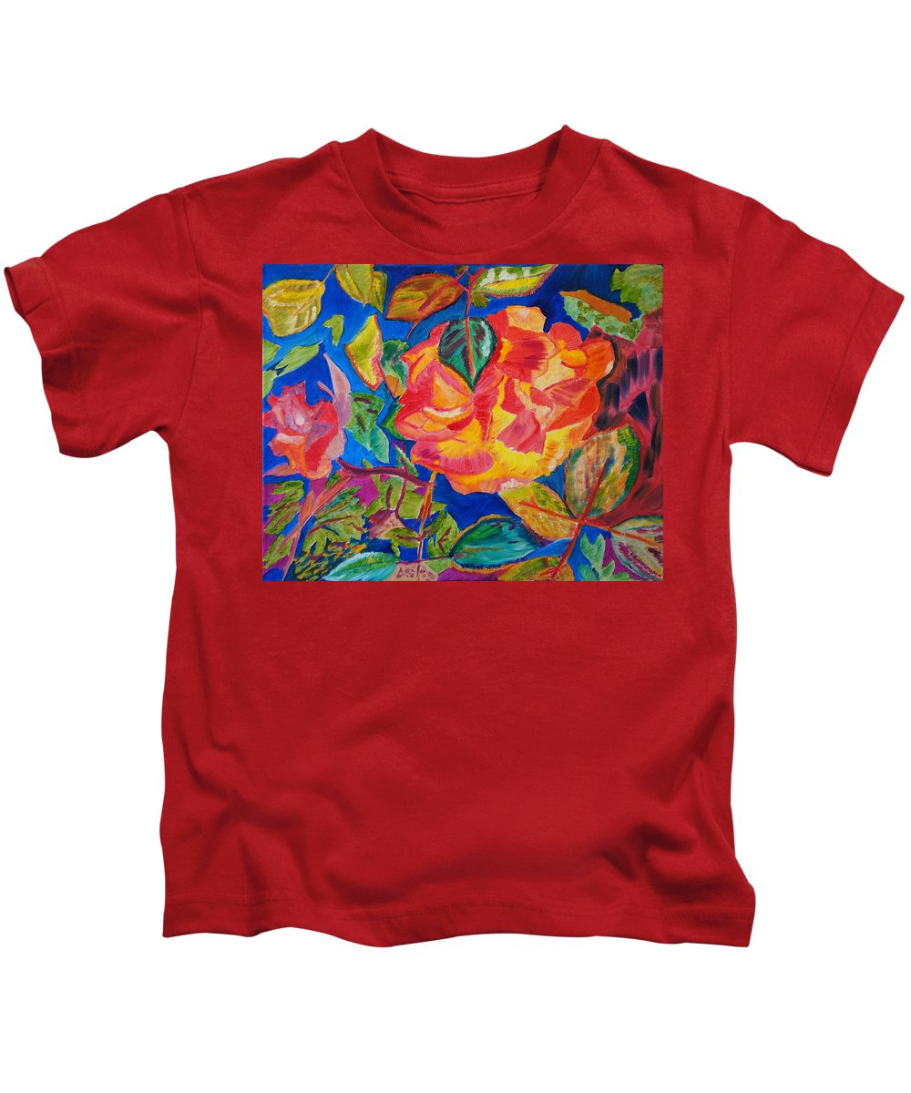 Flowers Kids T-Shirt featuring the painting Blossoms Aglow by Meryl Goudey