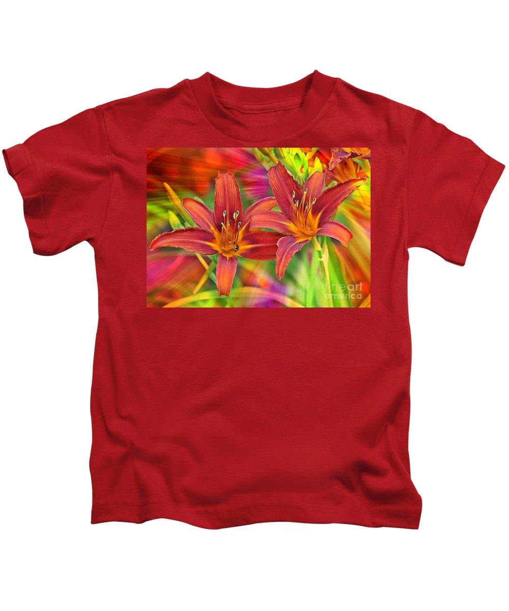 Bold Colors Kids T-Shirt featuring the photograph Bold And Beautiful Daylilies by Carol Groenen