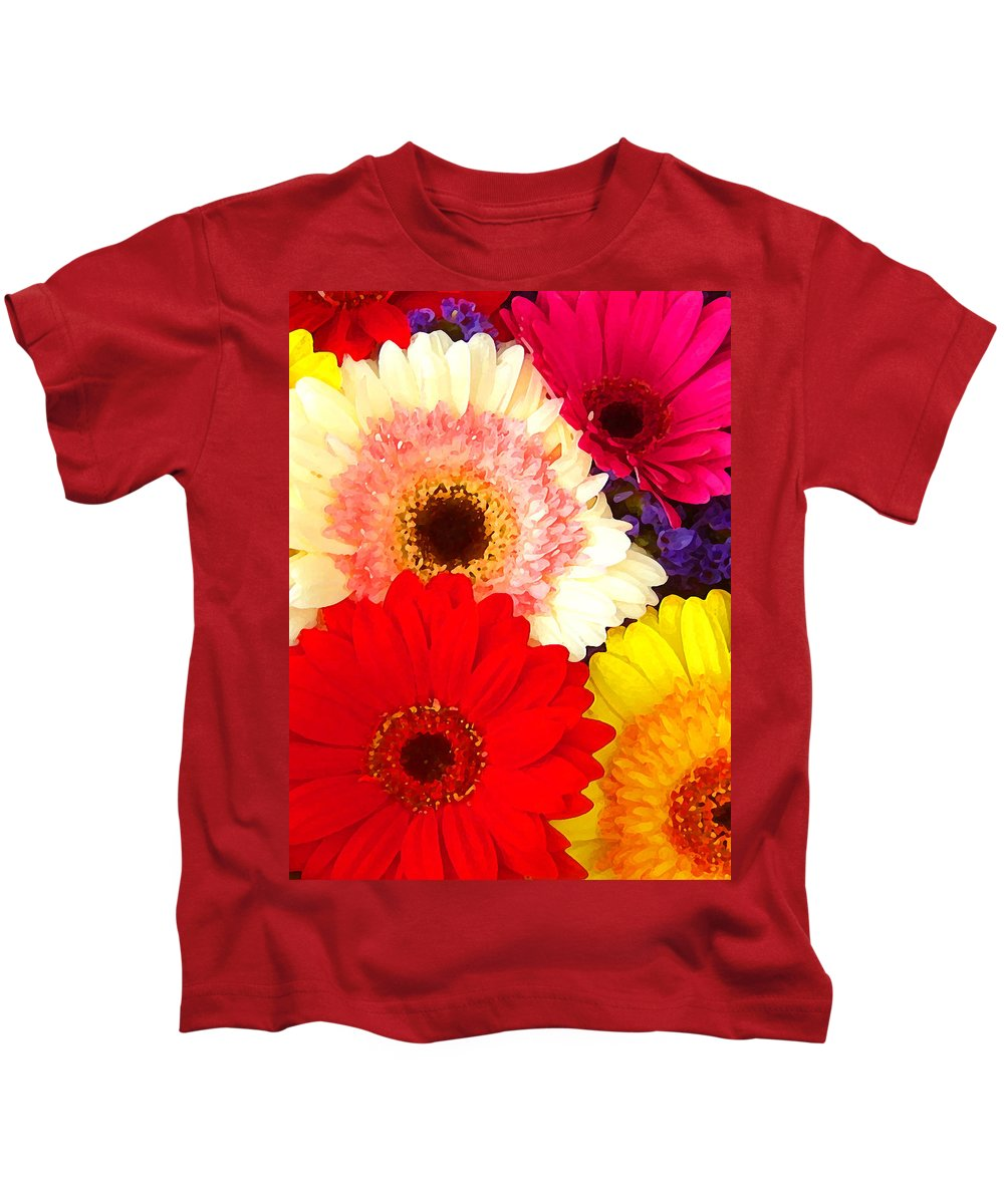Daisies Kids T-Shirt featuring the painting Brightly Colored Gerbers by Amy Vangsgard