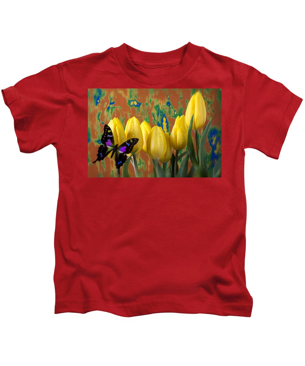 Black Purple Kids T-Shirt featuring the photograph Butterfly Dreams by Garry Gay