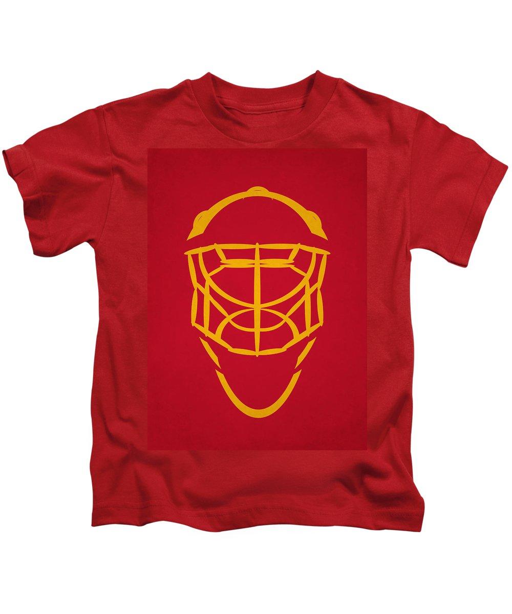 Flames Kids T-Shirt featuring the photograph Calgary Flames Goalie Mask by Joe Hamilton