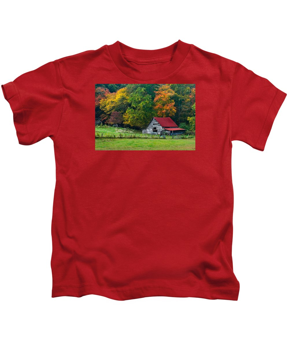 Appalachia Kids T-Shirt featuring the photograph Candy Mountain by Debra and Dave Vanderlaan
