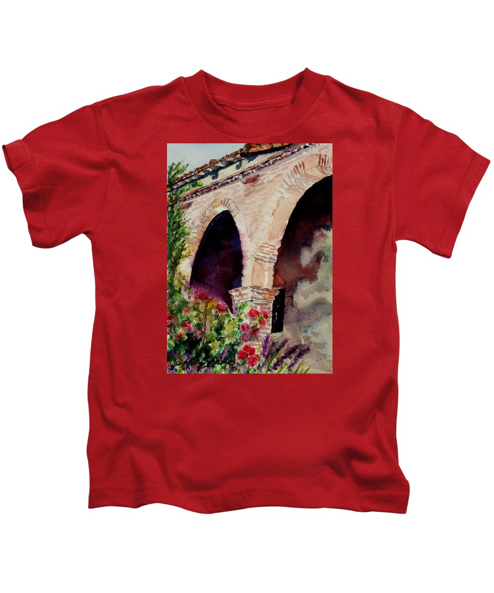 Watercolor Kids T-Shirt featuring the painting Capistrano Arches by Mary Benke