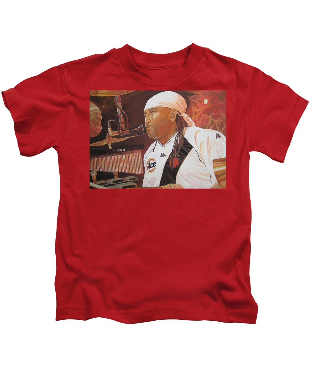 Carter Beauford Kids T-Shirt featuring the drawing Carter Beauford At Red Rocks by Joshua Morton