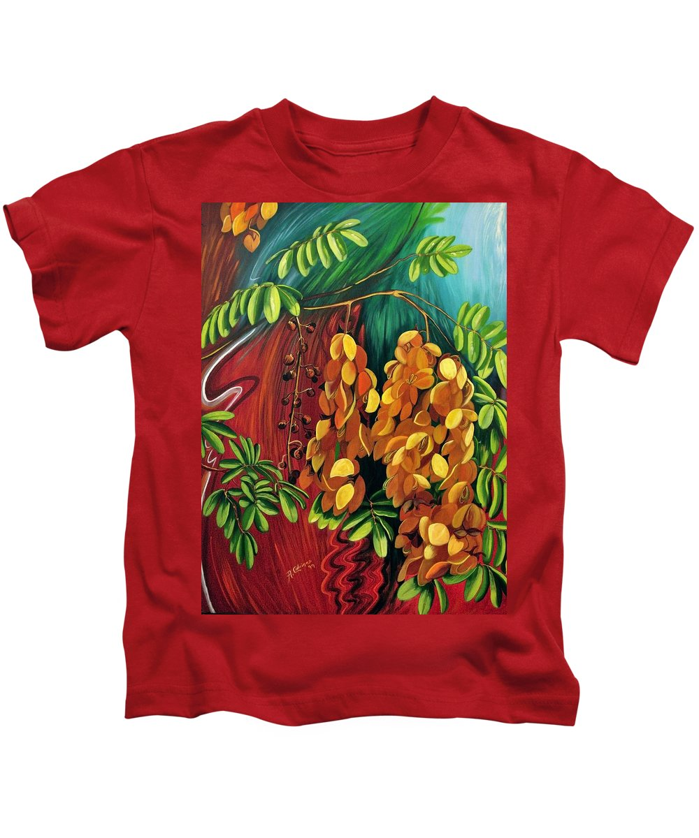 Fine Art Print Kids T-Shirt featuring the painting Cassia by Adriana Fox