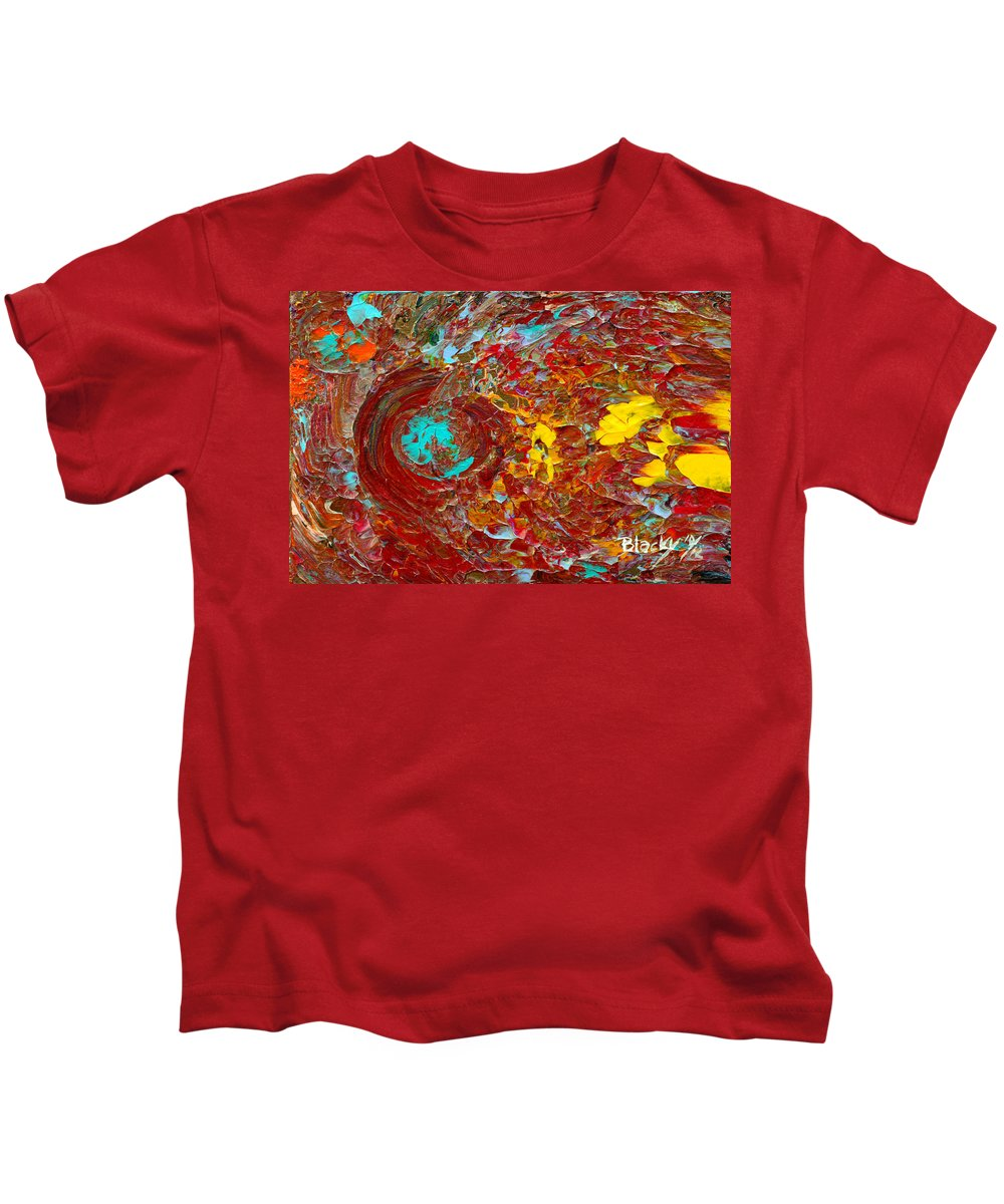 Bold Abstract Kids T-Shirt featuring the painting Catching Fire by Donna Blackhall