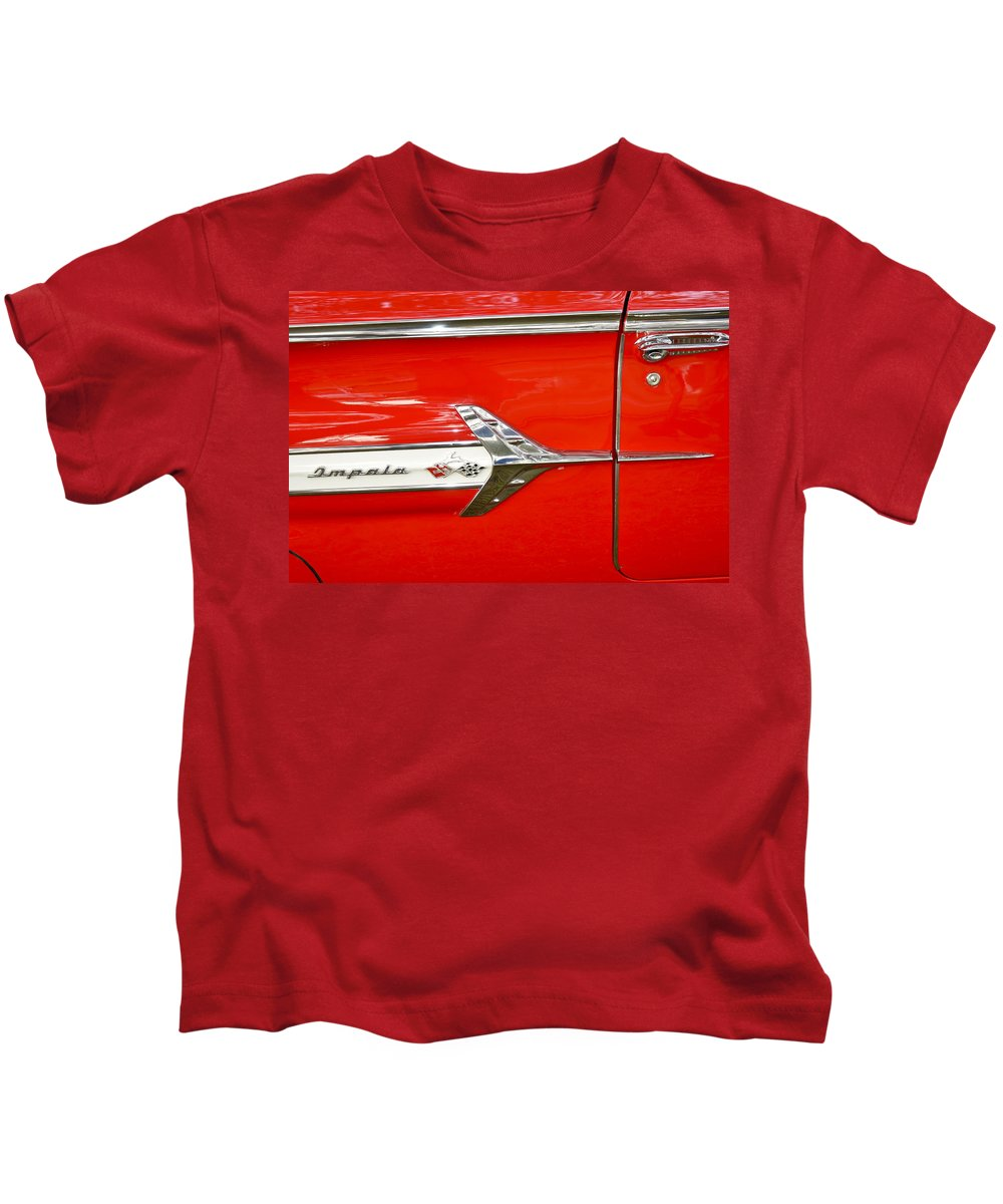 Automobile Kids T-Shirt featuring the photograph Chevrolet Impala Classic In Red by Carolyn Marshall