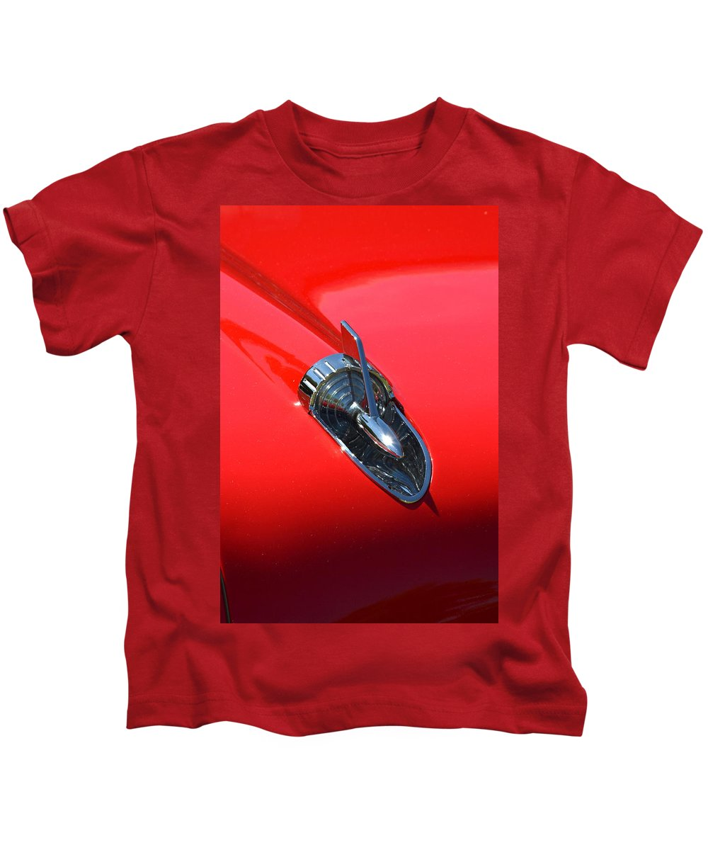 Red Kids T-Shirt featuring the photograph Chevy Hood by Dean Ferreira