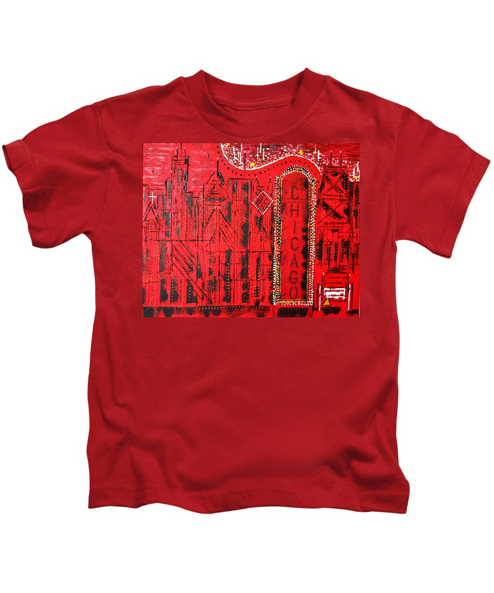 Nightlife Kids T-Shirt featuring the painting Chicago Theater by George Riney