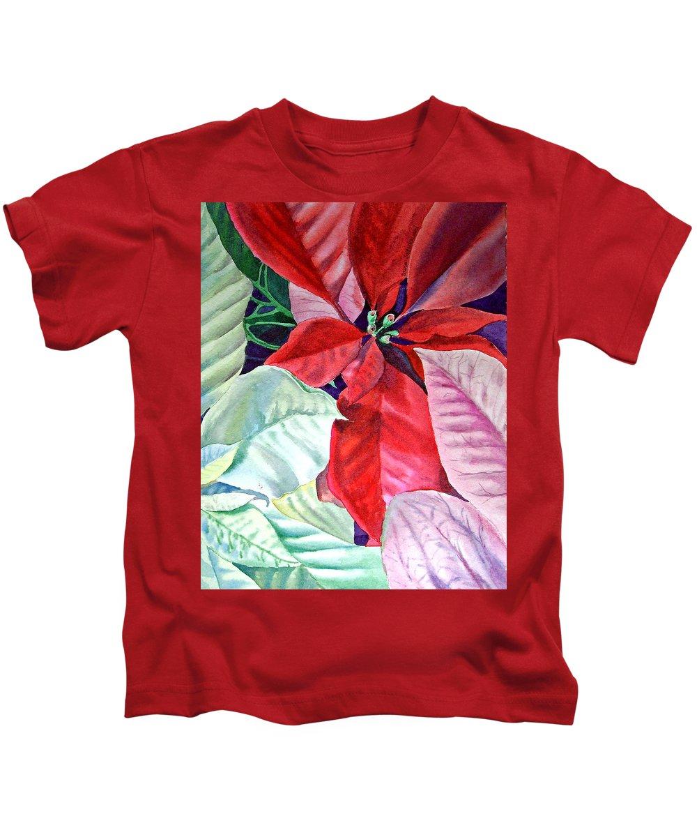 Holiday Kids T-Shirt featuring the painting Christmas Poinsettia by Irina Sztukowski