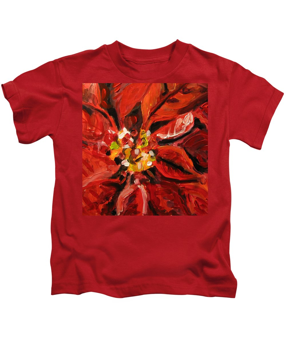 Floral Kids T-Shirt featuring the painting Christmas Poinsettia by Susan Elizabeth Jones