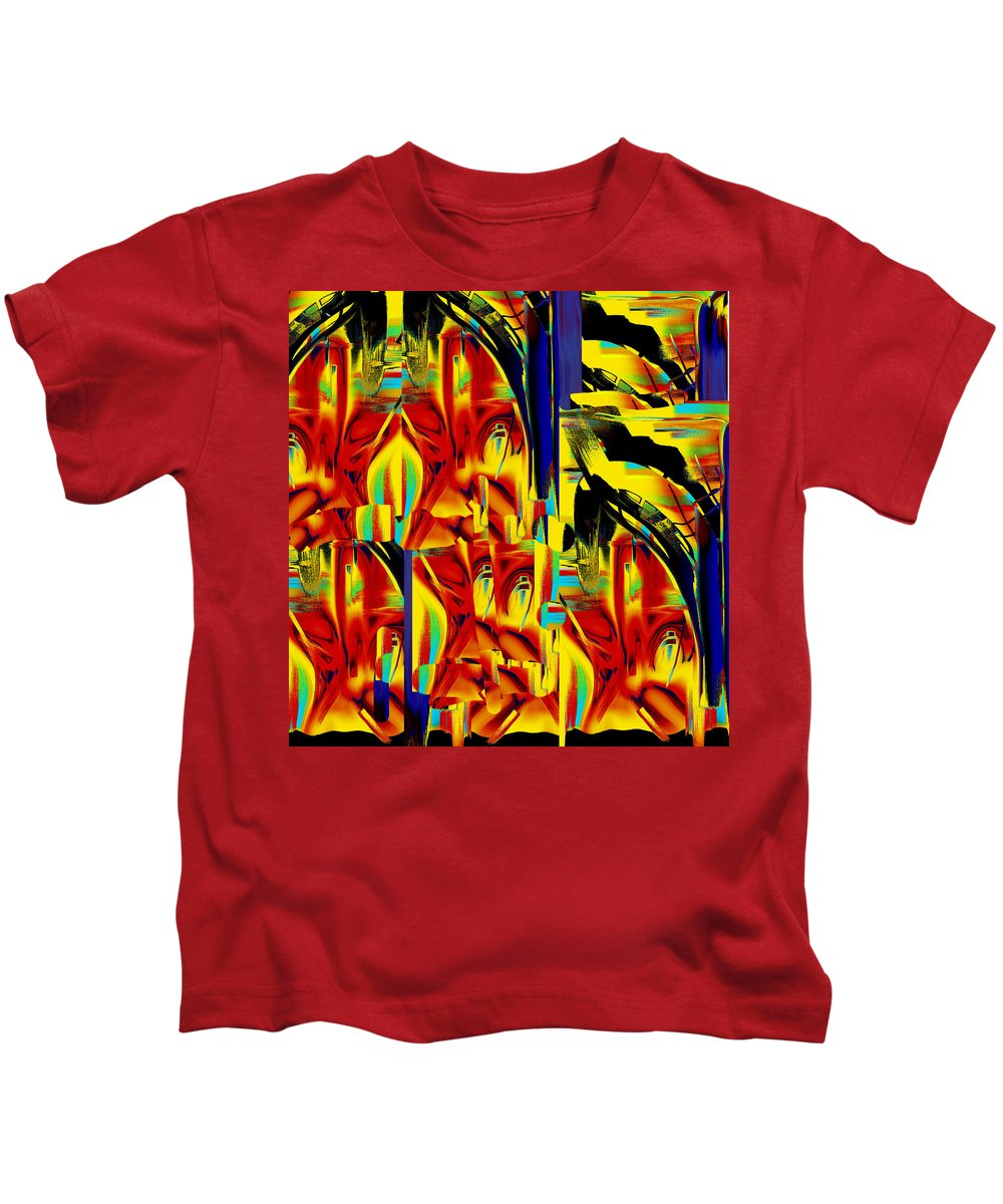 Abstract Impressionism Kids T-Shirt featuring the mixed media Church And Industry by Terence Morrissey