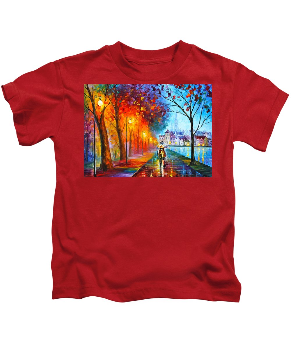 Afremov Kids T-Shirt featuring the painting City By The Lake by Leonid Afremov