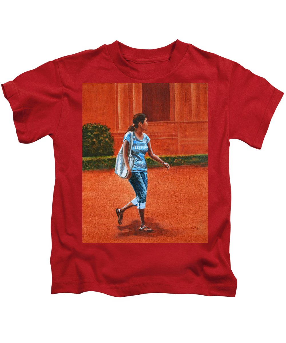 City Kids T-Shirt featuring the painting City Girl by Usha Shantharam
