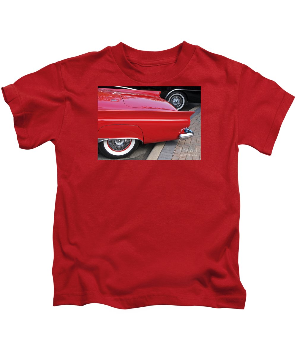 Classic Car Kids T-Shirt featuring the photograph Classic Red And Black by Ann Horn
