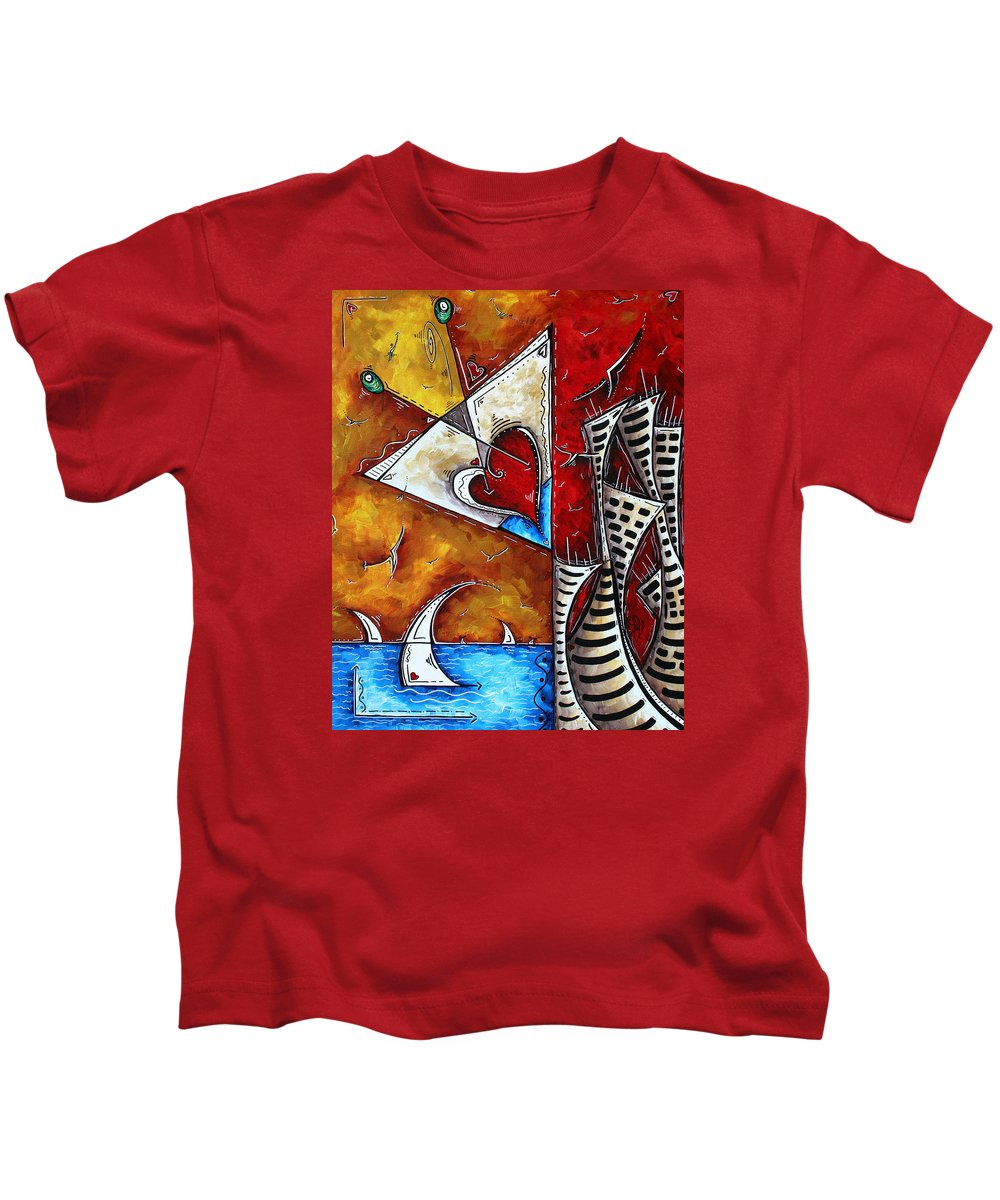 Coastal Kids T-Shirt featuring the painting Coastal Martini Cityscape Contemporary Art Original Painting Heart Of A Martini By Madart by Megan Duncanson