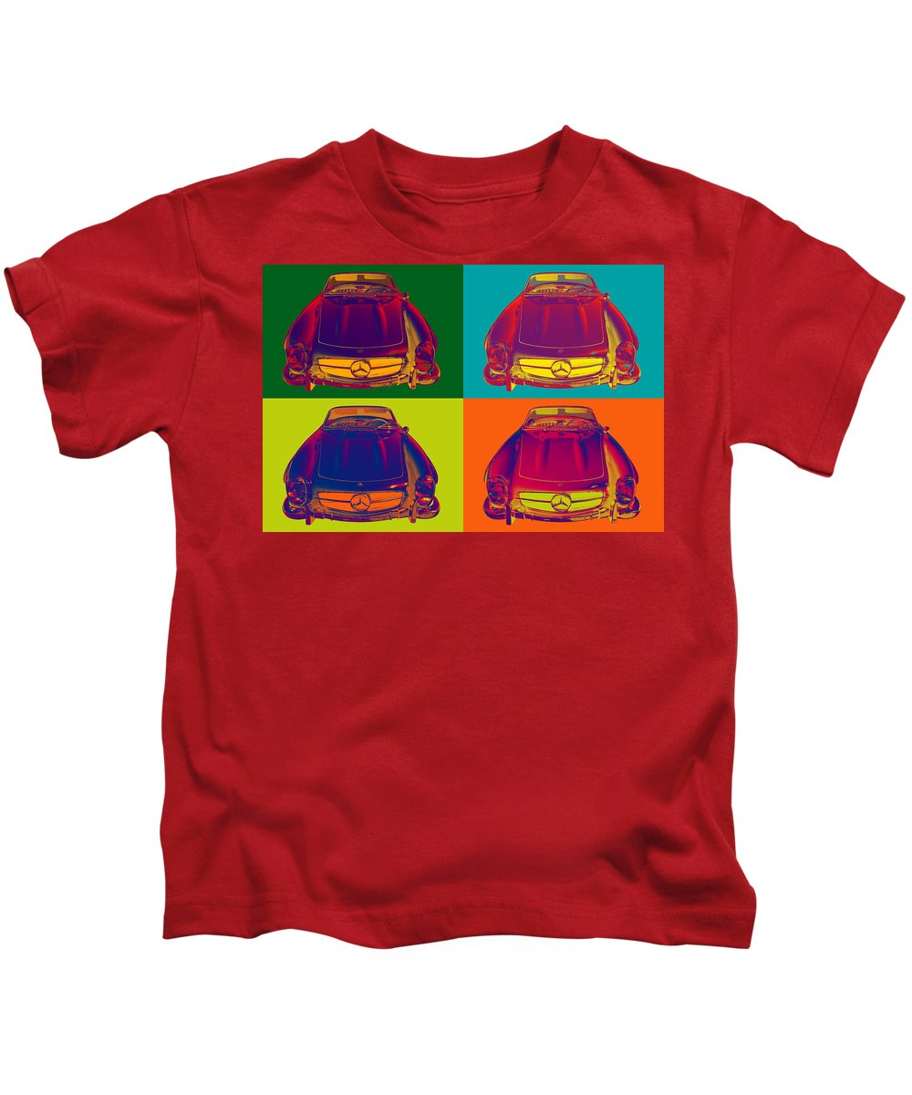 Mercedes Kids T-Shirt featuring the photograph Colorful Mercedes Benz 300 Sl Convertible Popart by Keith Webber Jr