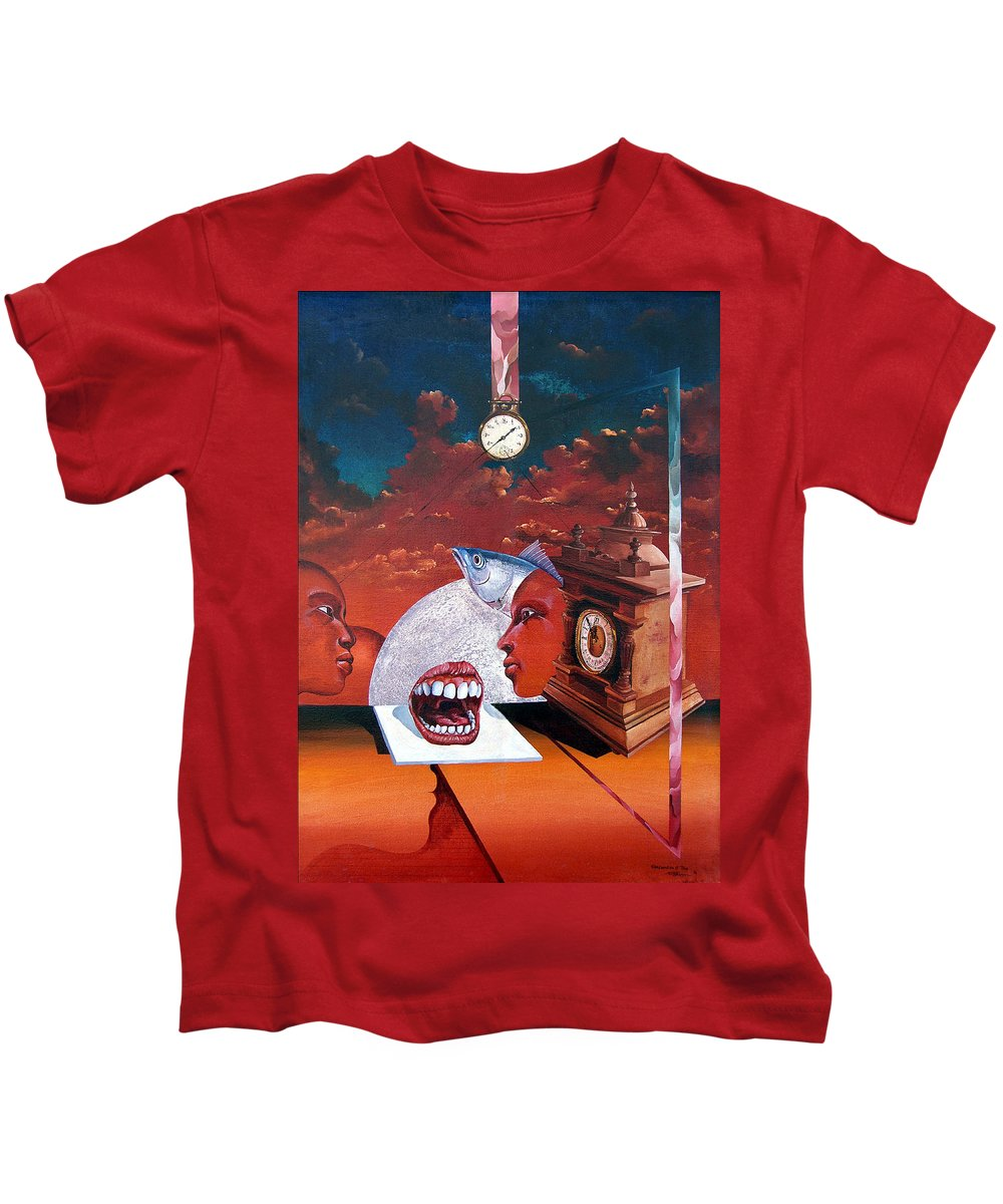 Otto+rapp Surrealism Surreal Fantasy Time Clocks Watch Consumption Kids T-Shirt featuring the painting Consumption Of Time by Otto Rapp