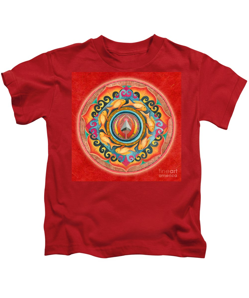 Mandala Art Kids T-Shirt featuring the painting Continuing Mandala by Jo Thomas Blaine