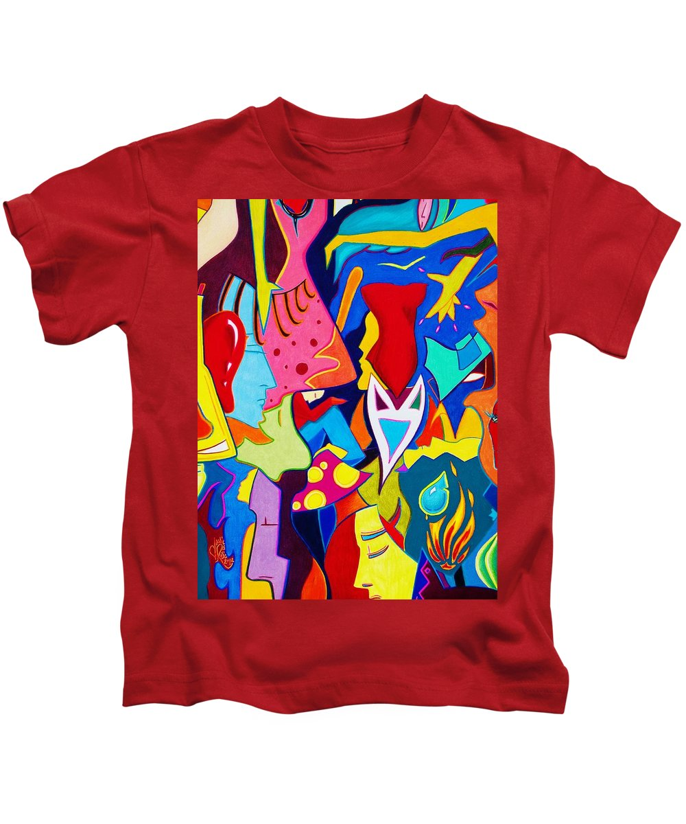 Abstract Kids T-Shirt featuring the drawing Controlled Chaos by Danielle R T Haney