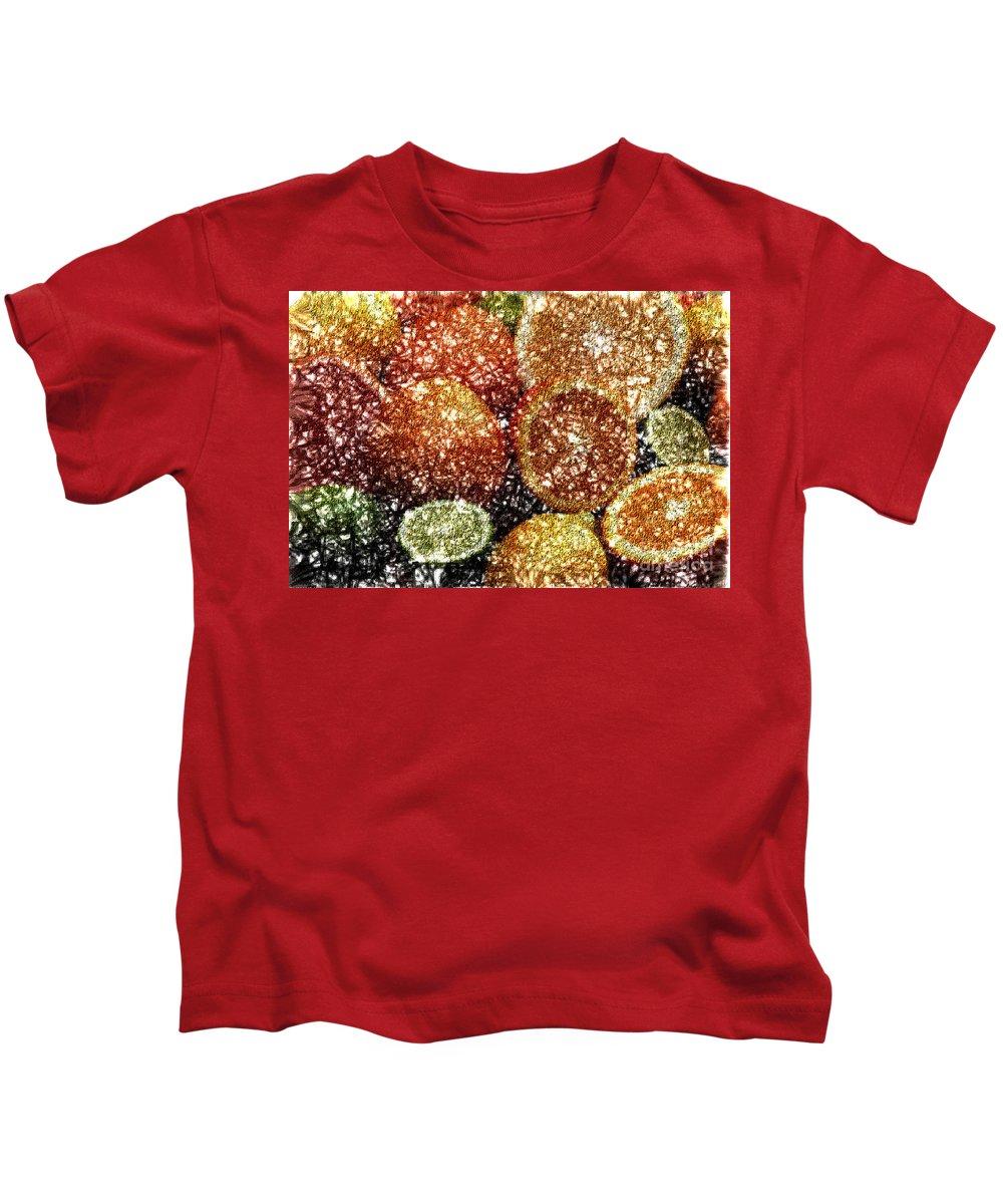 Grapefruit Abstract Kids T-Shirt featuring the digital art Crystal Grapefruit by Yael VanGruber