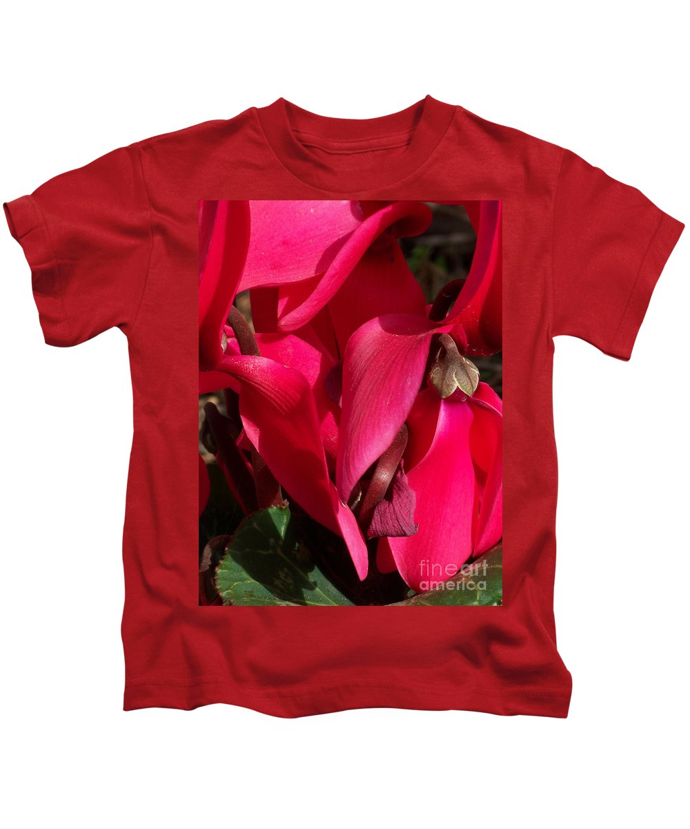 Flowers Kids T-Shirt featuring the photograph Cyclamen by Kathy McClure