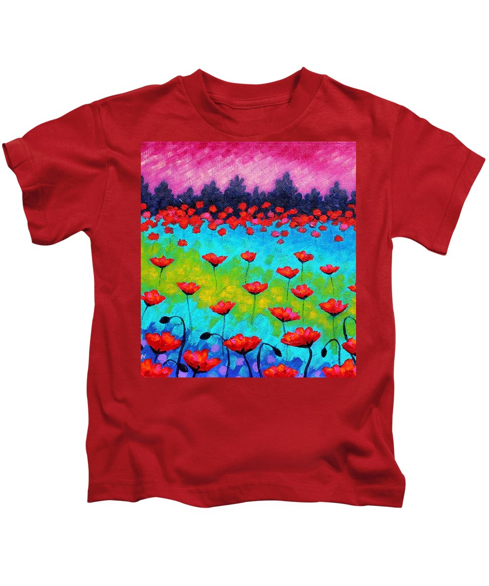 Landscape Kids T-Shirt featuring the painting Dancing Poppies by John Nolan