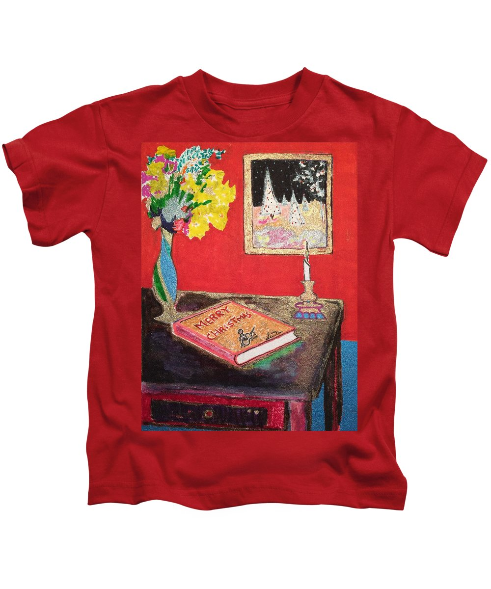 Merry Christmas Kids T-Shirt featuring the drawing December by Dennis Davis