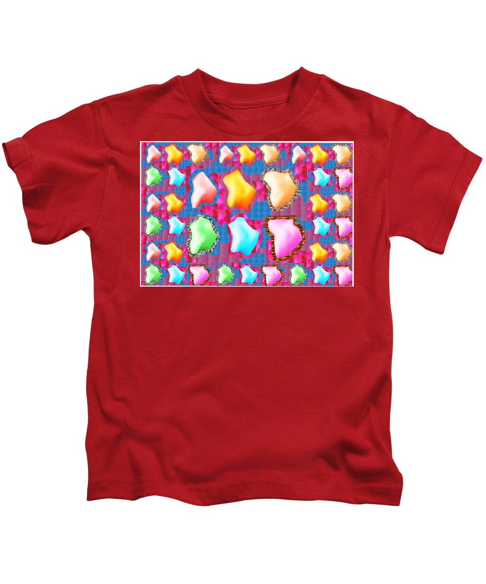 Deco Kids T-Shirt featuring the mixed media Deco Pattern Patchup Collage Crystals Jewels Rose Flower Petals by Navin Joshi