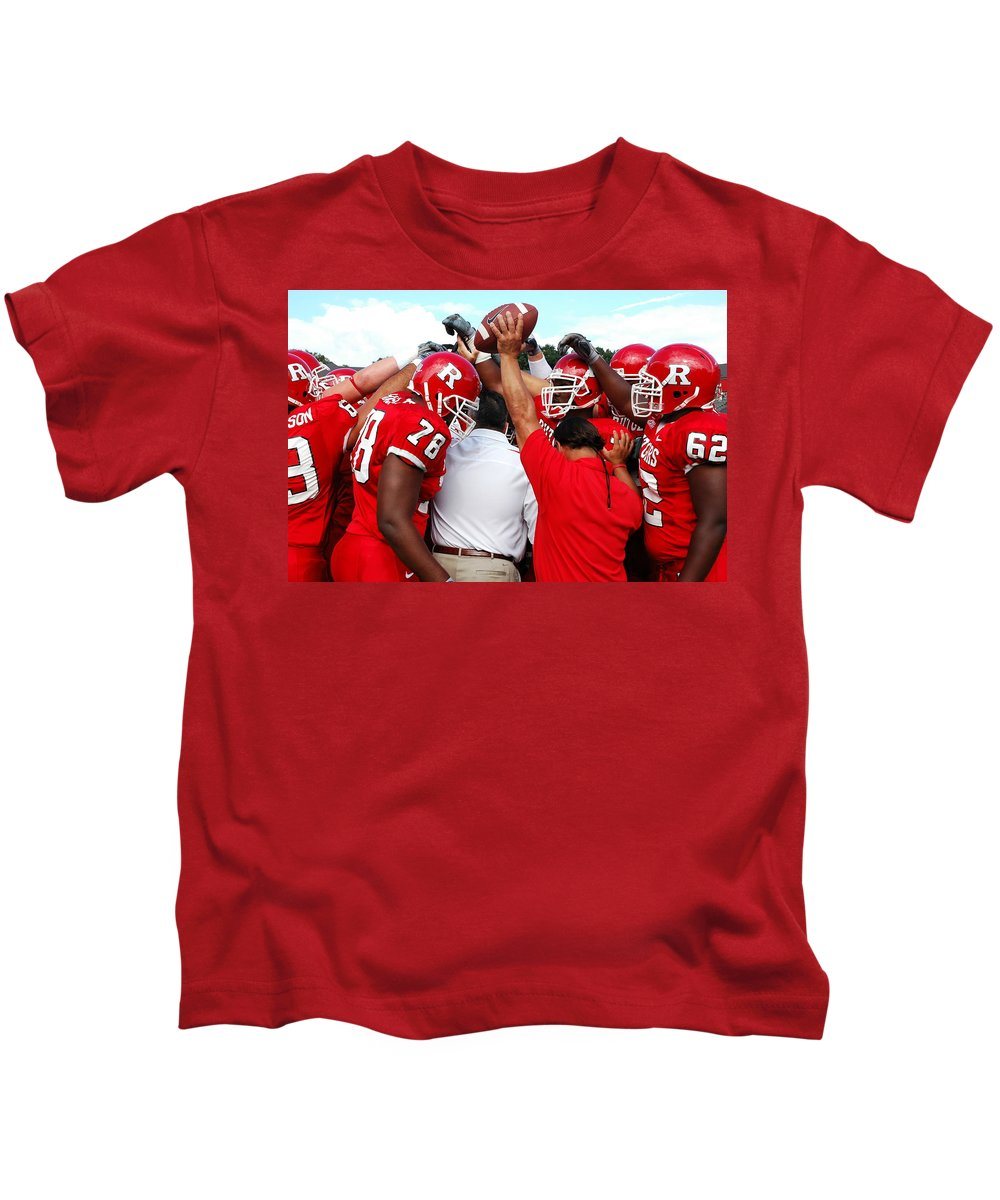 Rutgers Kids T-Shirt featuring the photograph Defensive Huddle by Allen Beatty