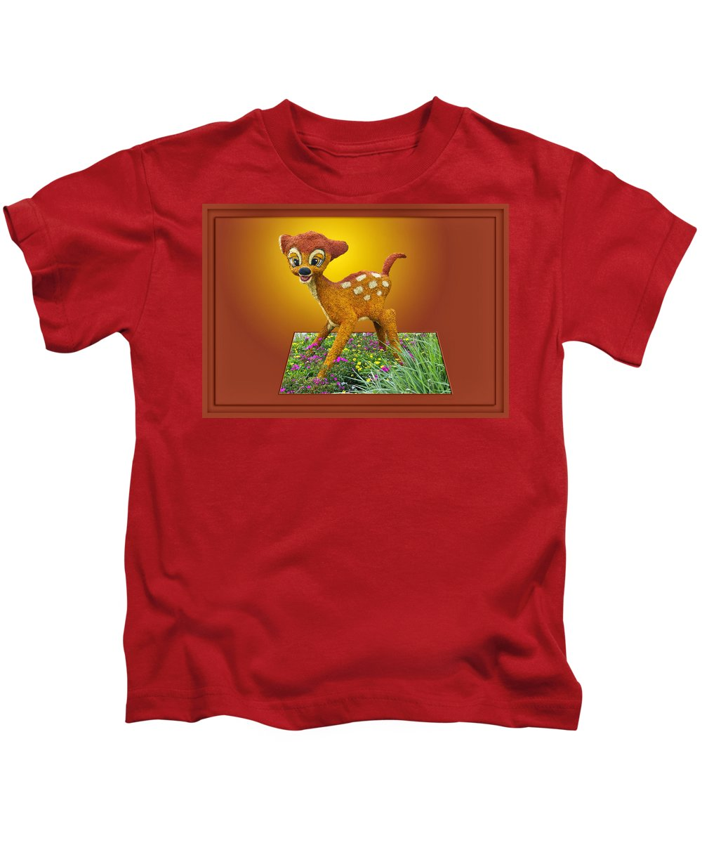 Bambi Kids T-Shirt featuring the photograph Disney Floral 03 Bambi by Thomas Woolworth