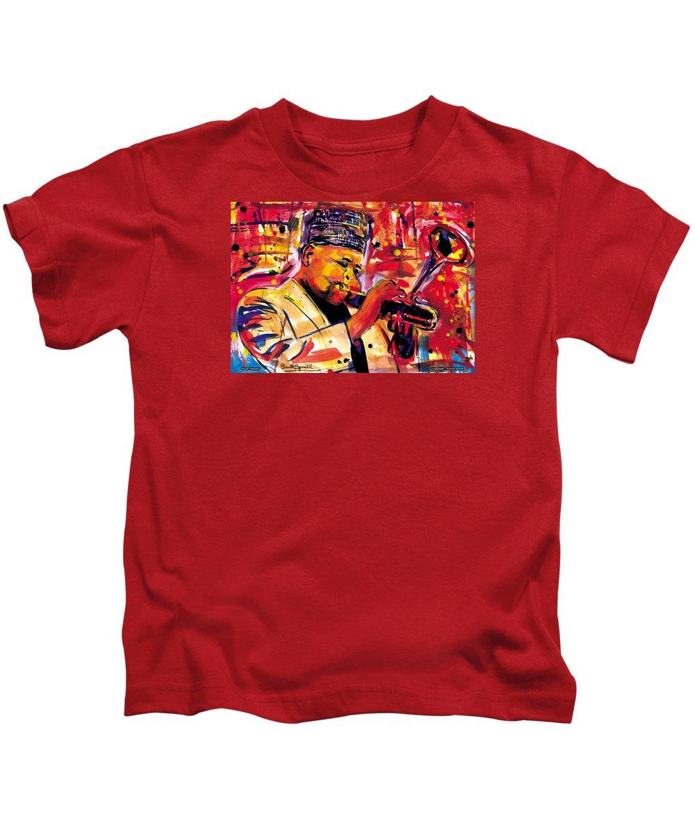 Dizzy Gillespie Kids T-Shirt featuring the painting Dizzy Gillespie by Everett Spruill