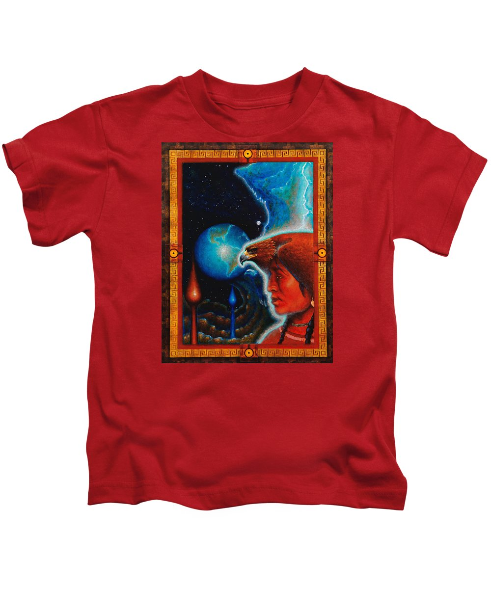 Native American Kids T-Shirt featuring the painting Eagle's Roost by Kevin Chasing Wolf Hutchins