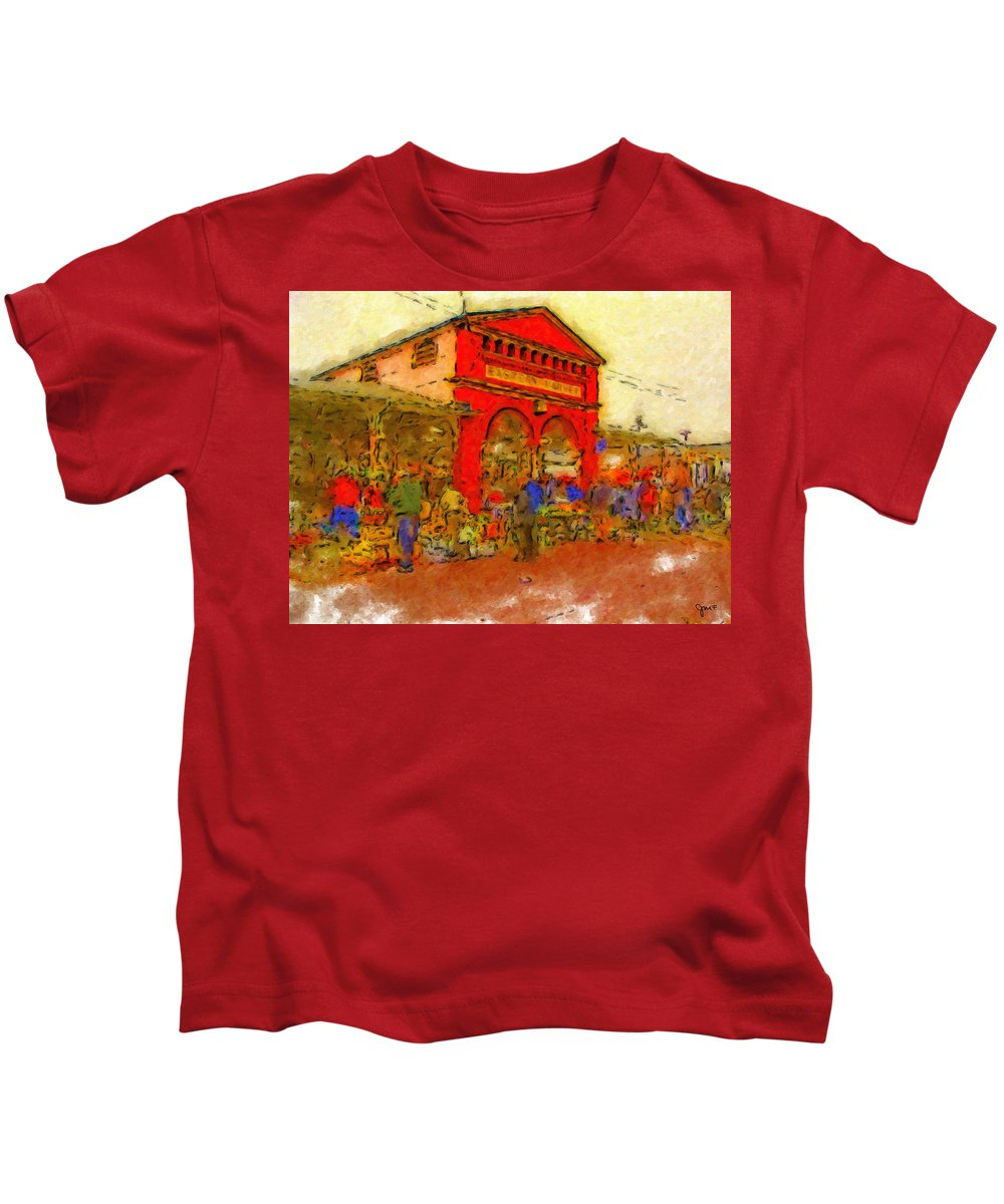 Detroit Kids T-Shirt featuring the painting Eastern Market by John Farr