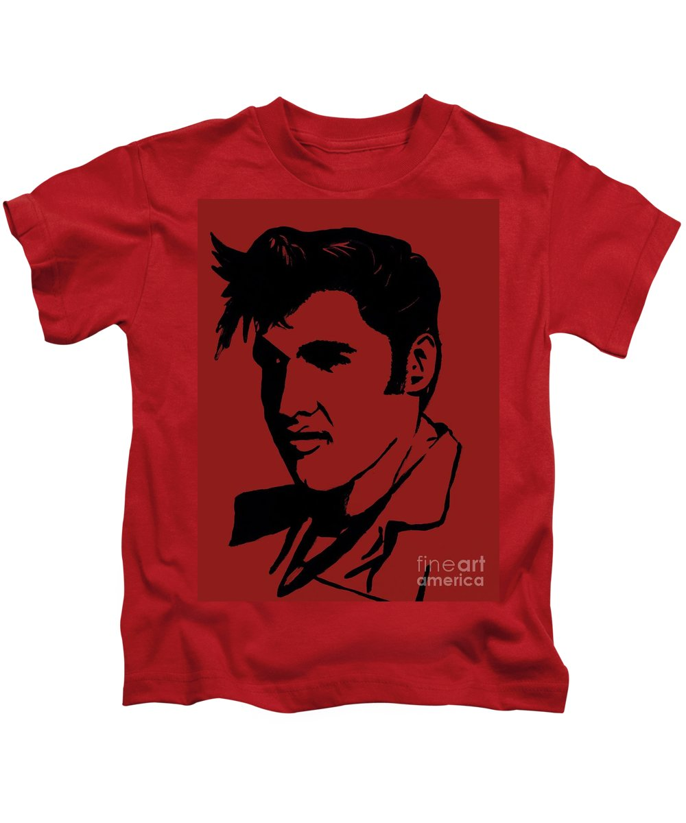 Elvis Kids T-Shirt featuring the painting Elvis The King by Saundra Myles
