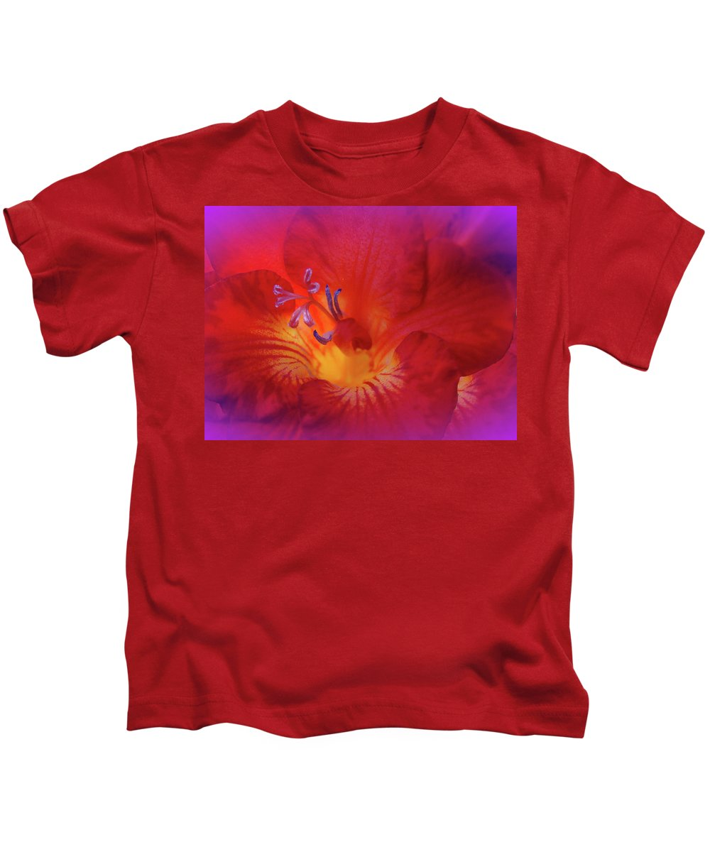 Freesia Kids T-Shirt featuring the photograph Fade To Freesia - Iridaceae by Mother Nature
