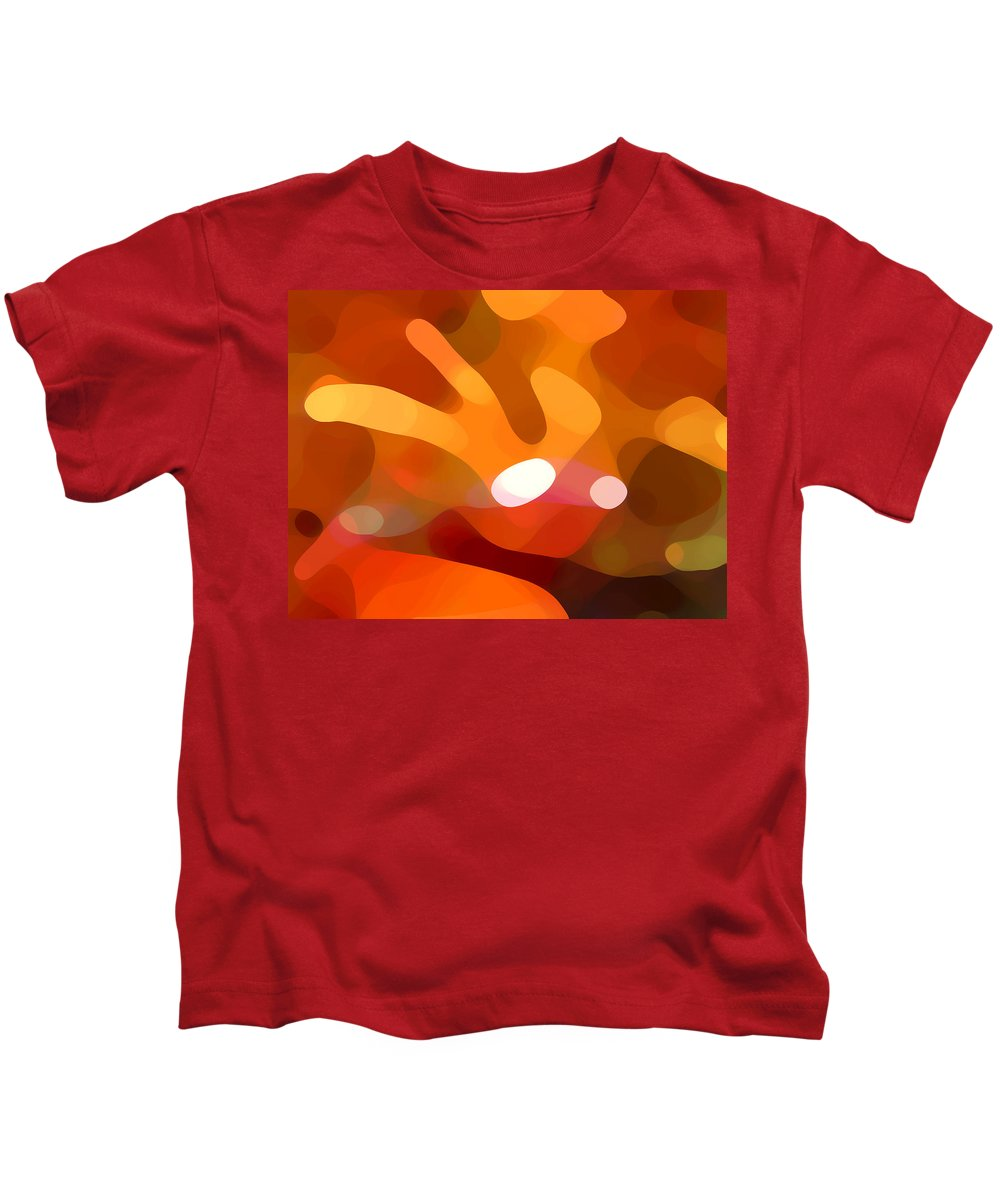 Abstract Kids T-Shirt featuring the painting Fall Day by Amy Vangsgard