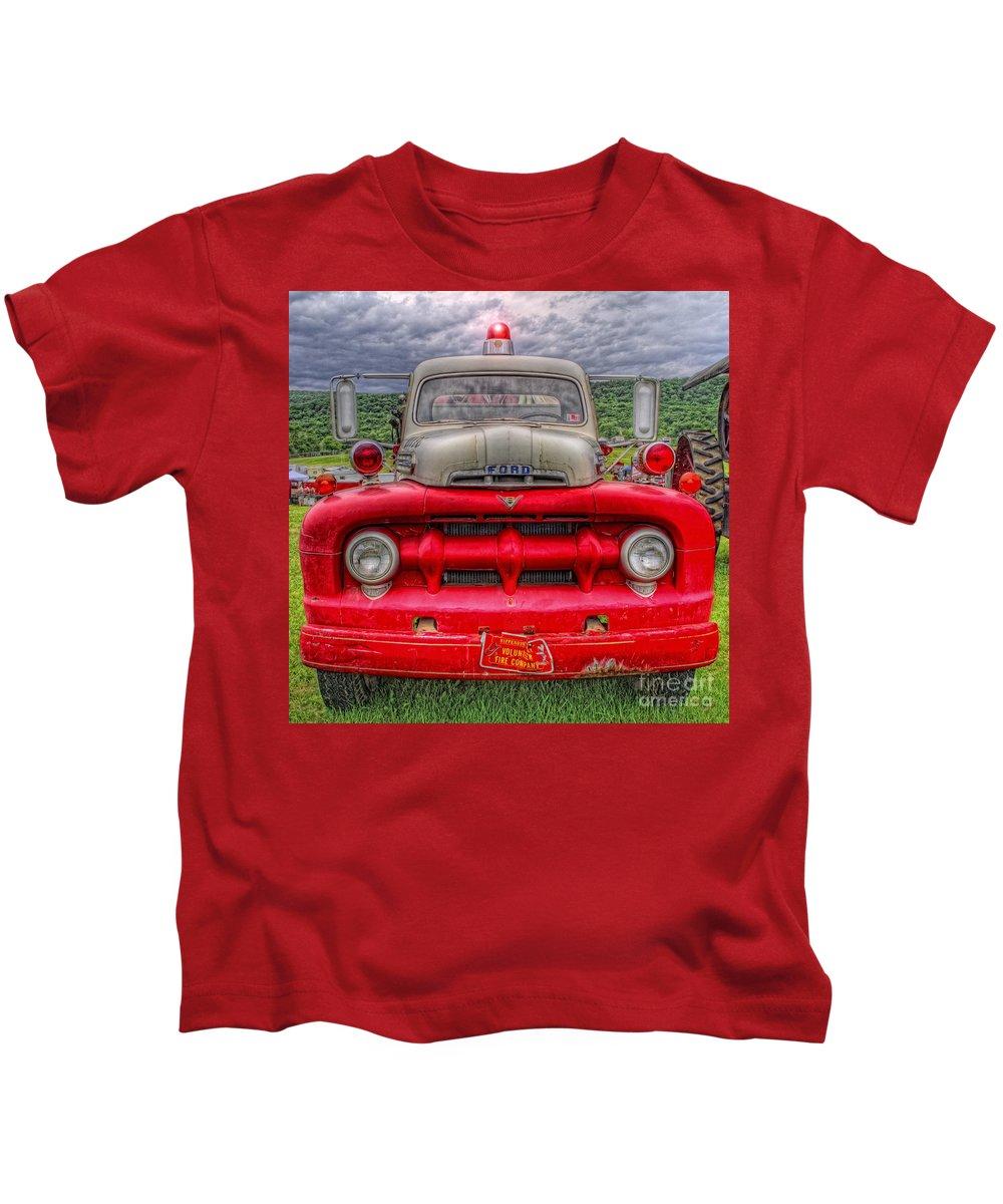 Fire Truck Kids T-Shirt featuring the photograph Fire Truck by David B Kawchak Custom Classic Photography