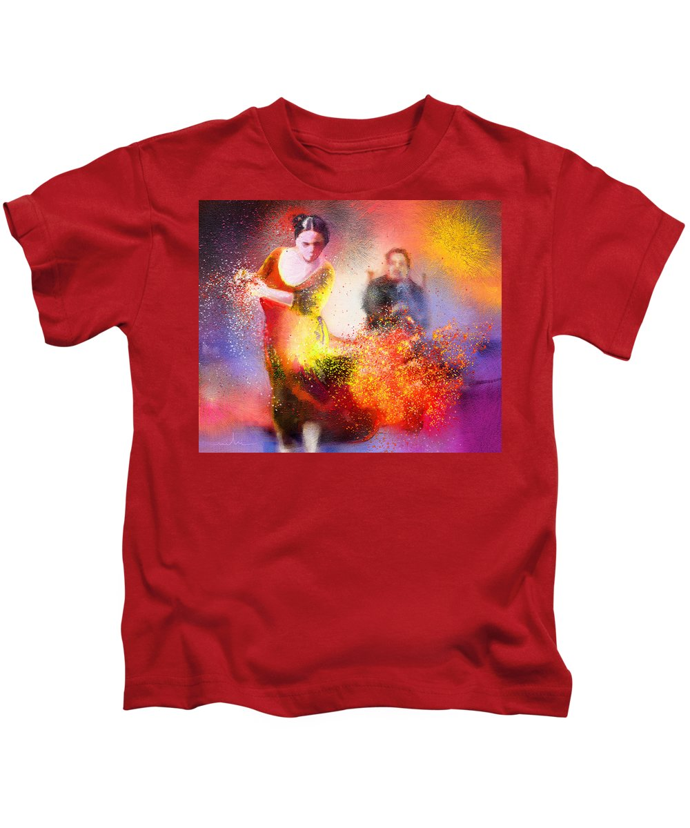 Flamenco Painting Kids T-Shirt featuring the painting Flamencoscape 11 by Miki De Goodaboom