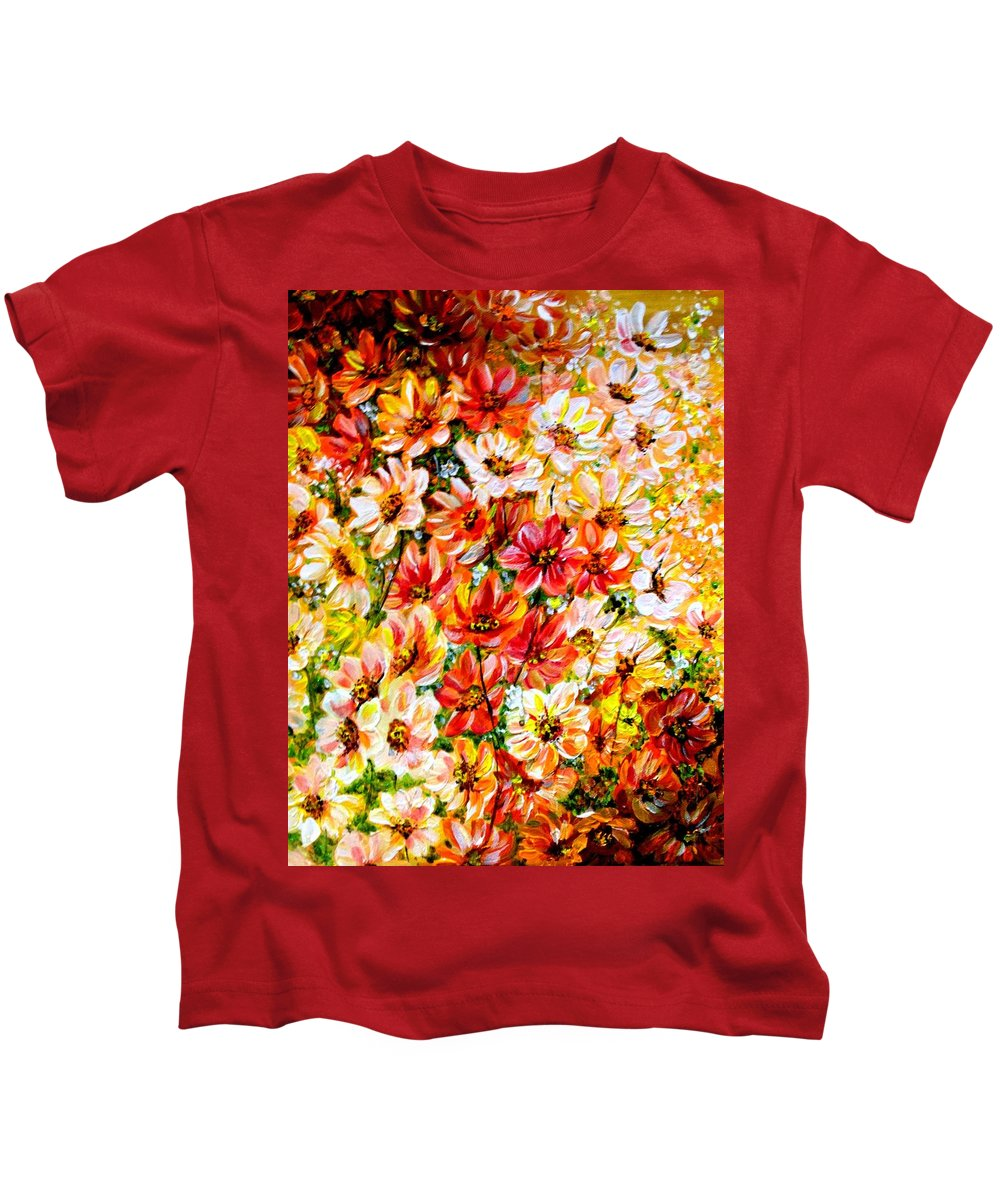 Abstract Daises Kids T-Shirt featuring the painting Floral Abstract by Karin Dawn Kelshall- Best